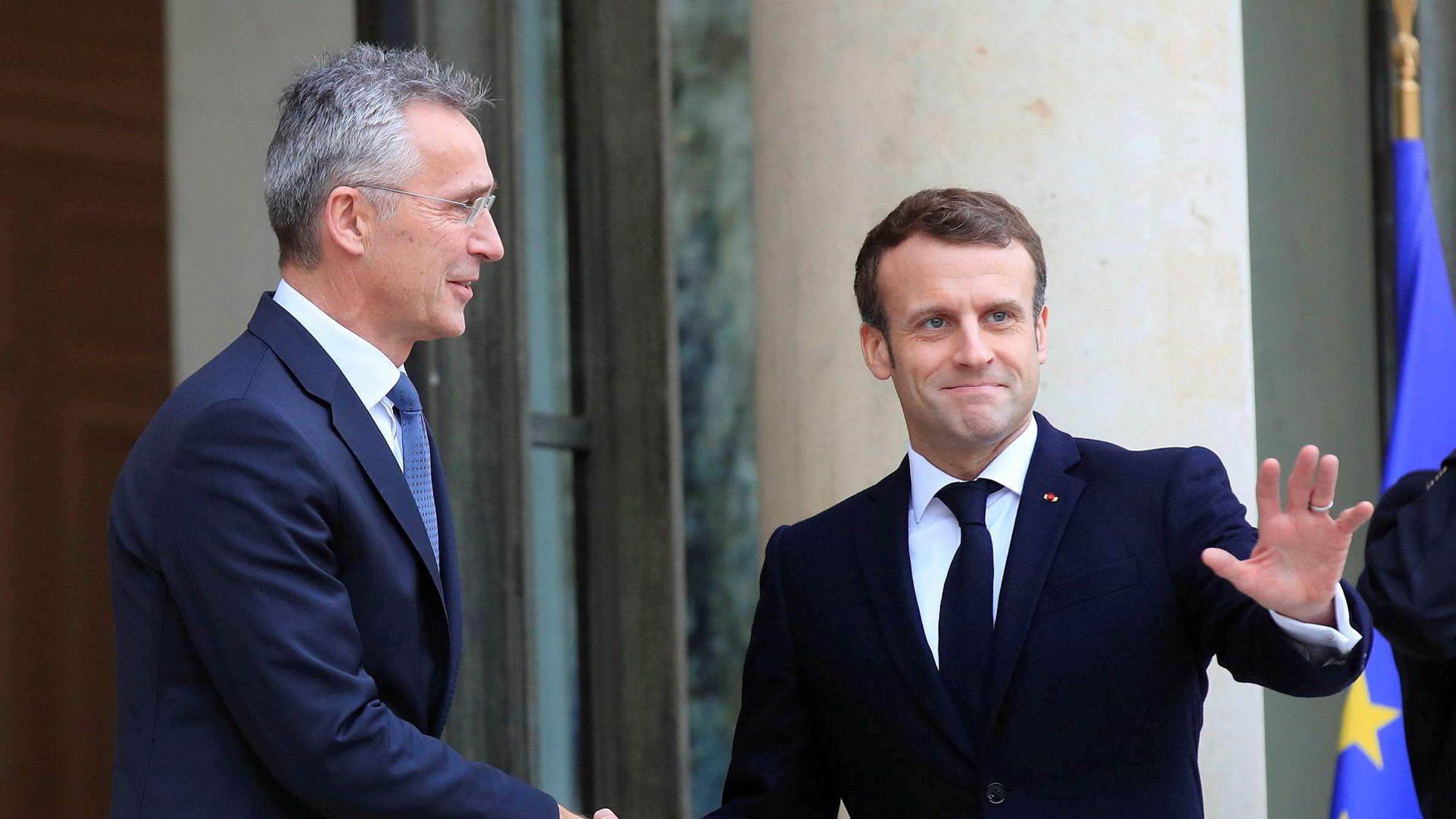 Natos generalsekretær Jens Stoltenberg besøkte torsdag Frankrikes president Emmanuel Macron ved Élyséepalasset i Paris.