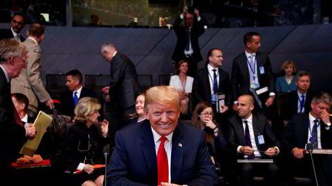 Donald Trump under Nato-toppmøtet onsdag kveld.