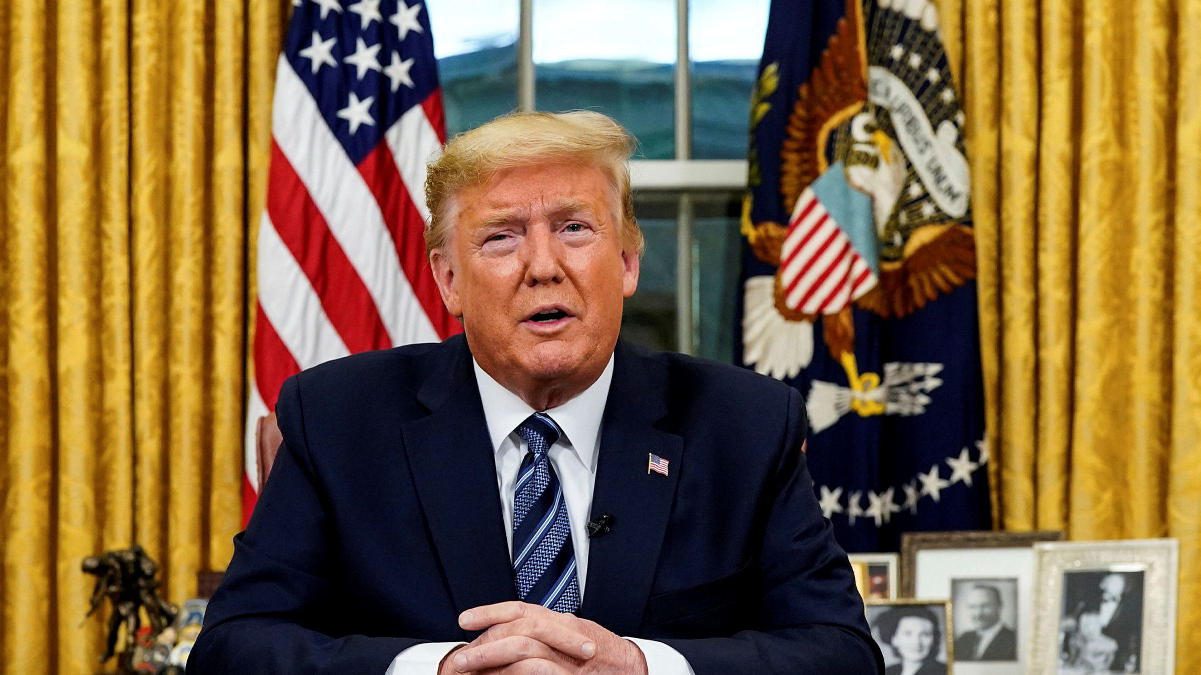 President Donald Trump innfører reiseforbud til USA fra nesten alle land i Europa fra fredag.
