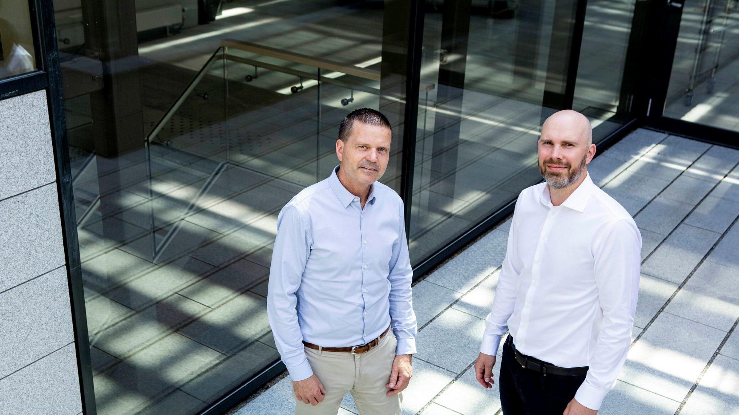 Administrerende direktør Terje Wibe (til venstre) og finansdirektør Fredrik Eeg i teknologiselskapet Mercell. Nå vil de hente mer penger og gå på børs for å fortsette å gjøre oppkjøp.
