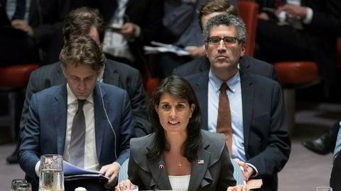 USAS FN-ambassadør Nikki Haley taler under et møte om situasjonen mellom Israelere og Palestinere. fredag 1. juni i FNs hovedkvarter.