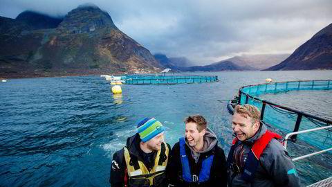 Brødrene Håvard Olsen og Gjermund Olsen, sammen med svoger Alf-Gøran Knutsen (til høyre), er trekløveret som styrer Kvarøy Fiskeoppdrett på Helgeland.