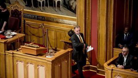 Stortingspresident Olemic Thommessen redegjorde onsdag for byggesprekken i Stortinget. Hans fremtid er fortsatt uviss.