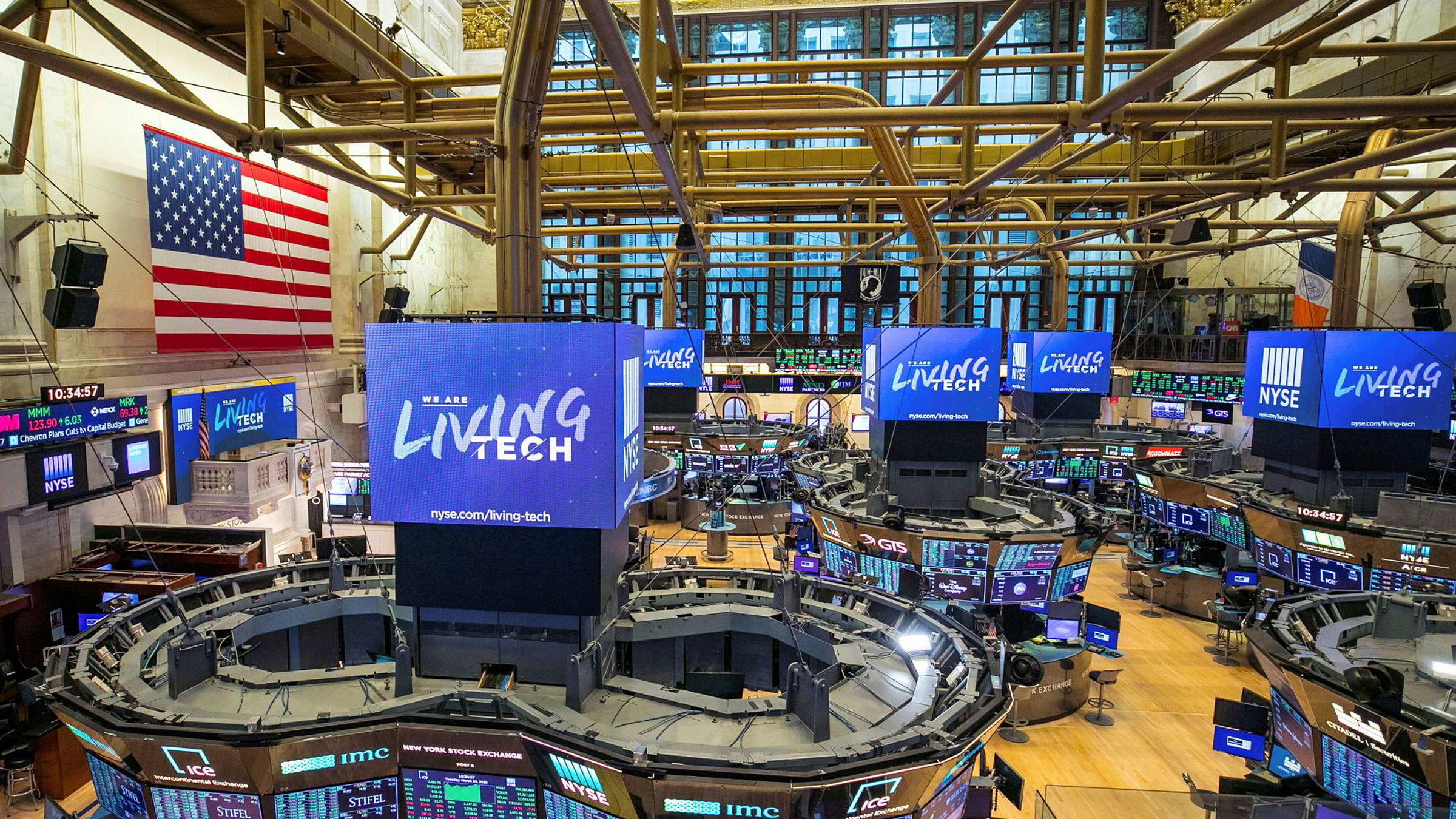 Et folketomt «trading floor» på New York-børsen fra tirsdag denne uken. For første gang på 228 år ble lokalene midlertidig stengt som følge av koronaviruset.