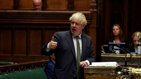 Storbritannias statsminister Boris Johnson fotografert under spørretimen i Underhuset forrige uke.