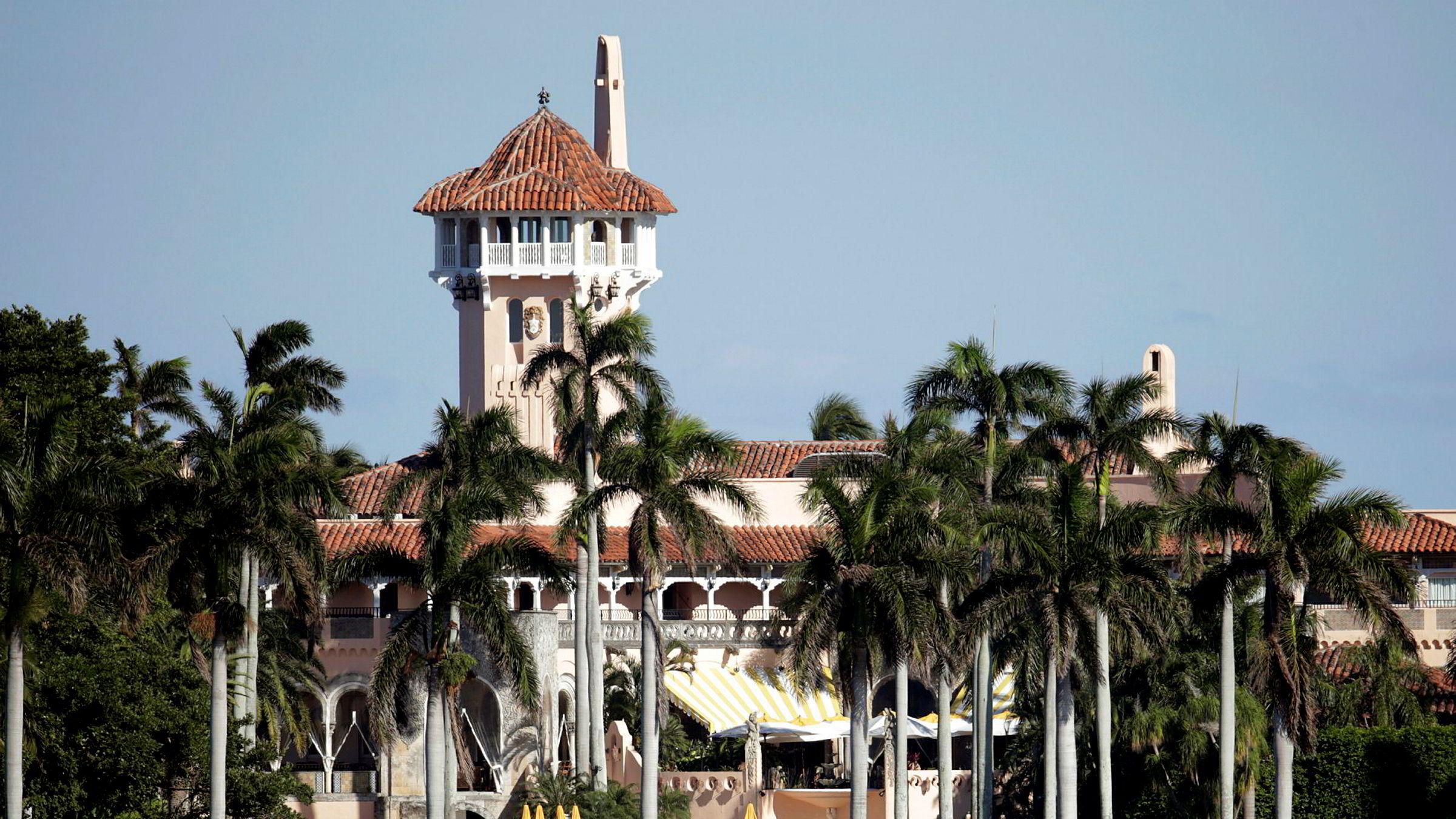 Bildet viser Mar-a-Lago-godset i Florida som er eid av president Donald Donald Trump.
