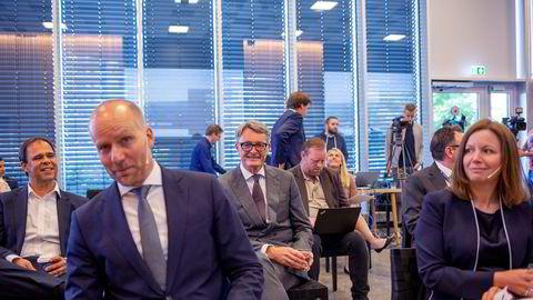 Kjetel Digre blir ny konsernsjef i Aker Solutions, som skal slås sammen med Kværner. Her fra fredagens pressekonferanse på Fornebu.