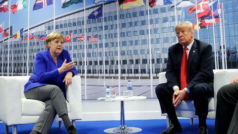 USAs president Donald Trump møtte Tysklands forbundskansler Angela Merkel i Belgia under Nato-toppmøtet onsdag.