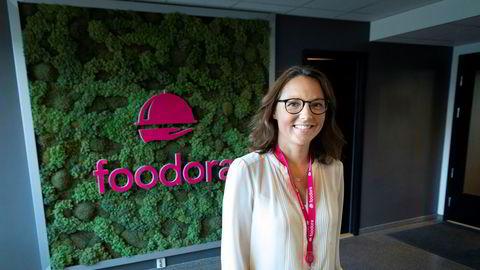 Foodora-sjef Elisabeth Myhre i selskapets nye lokaler sentralt i Oslo.