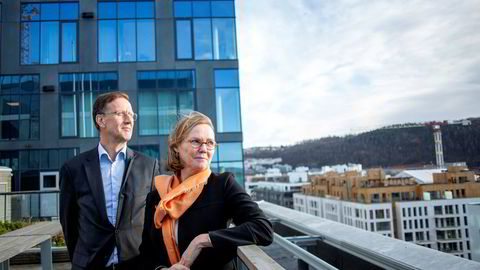 Finansdirektør Aage Schaanning i KLP har lange penger og Trine Loe, leder for fremtids- og teknologiinvesteringer i DNB, har prosjekter og kompetanse på lånefinansiering.