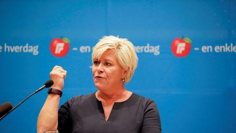 Partileder Siv Jensen taler til Fremskrittspartiets landsstyre søndag.