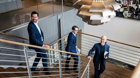 Disse tre partnerne i oppkjøpsfondet Hitecvision skal bygge det nye industrikonsernet Moreld med 8,8 milliarder kroner i omsetning og 3600 ansatte. Seniorpartner Atle Eide (til høyre), partner Endre Folge og partner Andre Ølberg (til venstre). Folge blir ny finansdirektør i det nye selskapet.