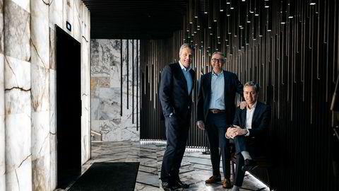Partnerne Kjell Jacobsen (til venstre), Einar Gamman og Helge Tveit er strålende fornøyd med å ha solgt fire selskaper for til sammen 1,3 milliarder kroner.
