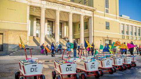 Gamle Deichmanske bibliotek i Oslo ble onsdag lagt ut for salg med en antatt markedsverdi på 58,6 millioner kroner. Rundt tusen barn bar over 6.000 bøker fra gamle Deichman til nye Deichman i januar i år. Foto: Stian Lysberg Solum / NTB scanpix