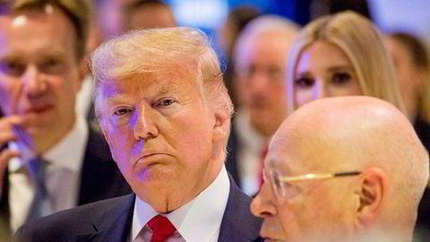 – Jeg ser frem til å skape historie i morgen, sier USAs president Donald Trump.