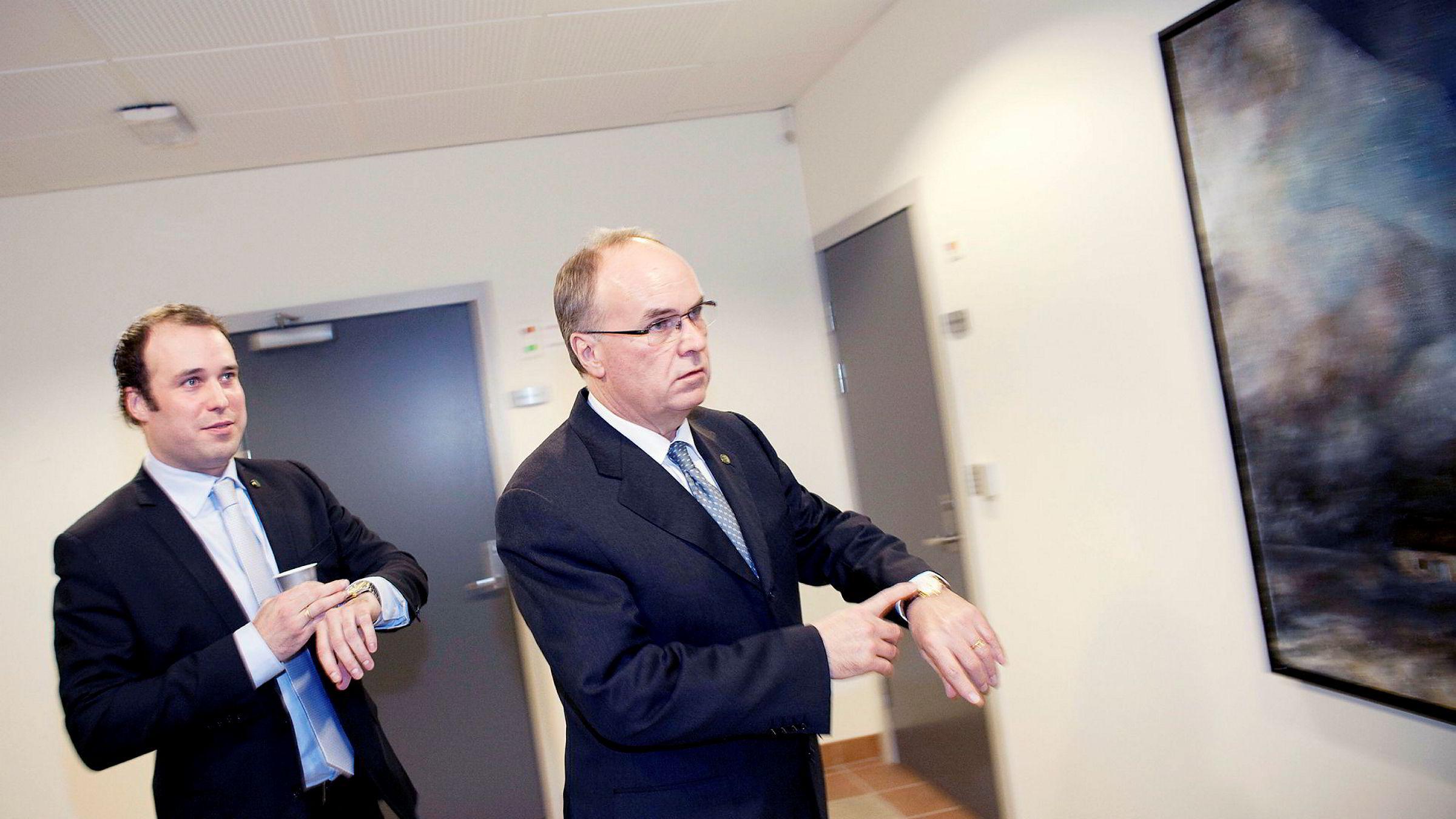 Administrerende direktør Johan Martin Ugland (til venstre) og far og eier Johan Benad Ugland mer enn tredoblet overskuddet i J.B. Ugland-konsernet i fjor – og firedoblet utbyttet.
