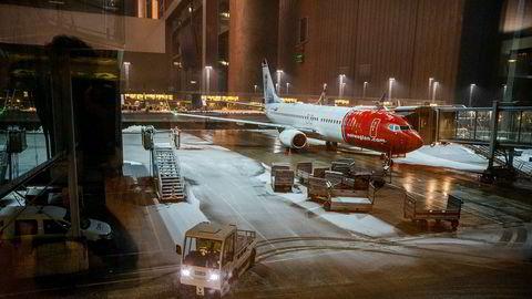 Norwegian-fly på Oslo lufthavn.