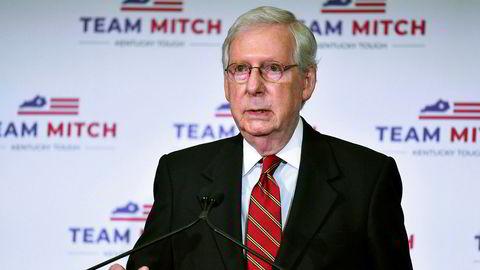 Senatets flertallsleder Mitch McConnell møtte pressen i Louisville forrige uke etter at han sikret seg en sjuende periode som senator fra Kentucky.