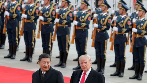 USAs president Donald Trump under et møte med Kinas motpart Xi Jinping  i Beijing 2017.