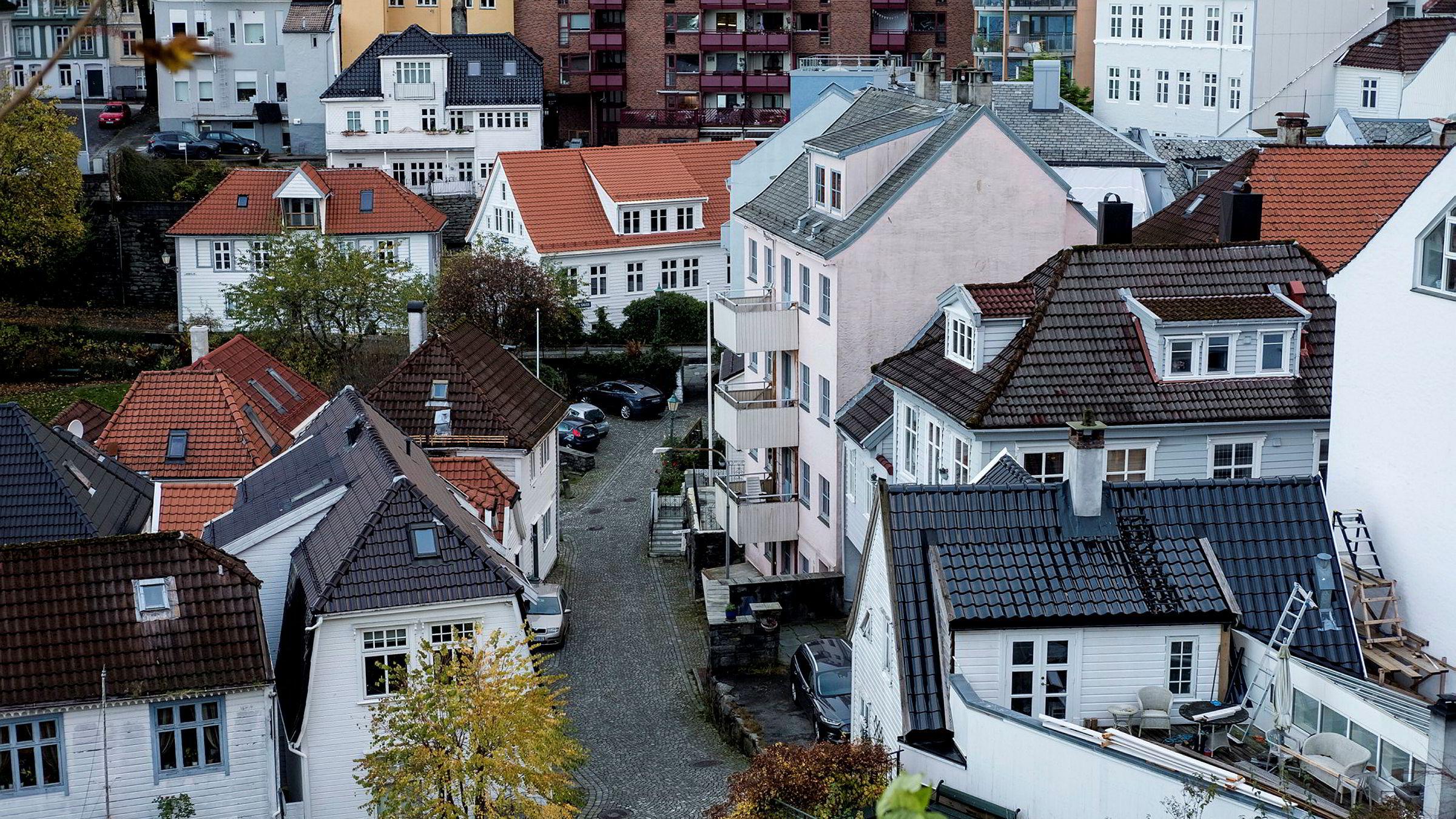Arkivfoto av boliger i Bergen.
