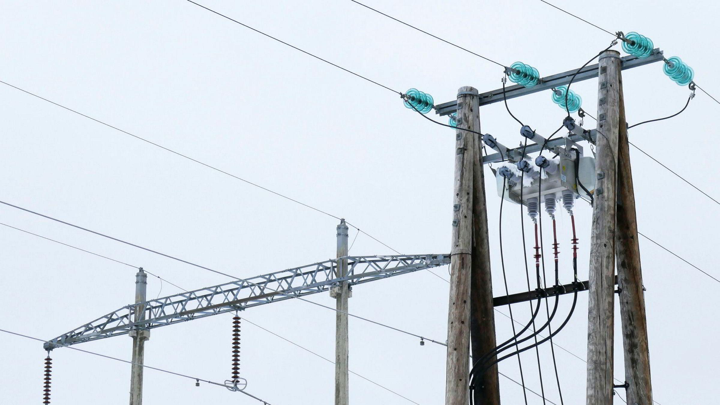Investeringer i nettene fører til økt leie. Bildet viser strømkabler fra mast til mast på Skeikampen i Oppland.