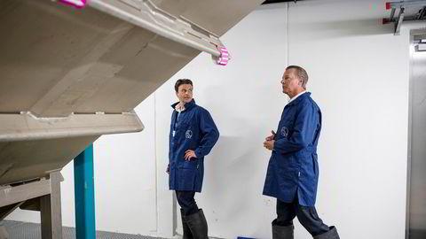 Administrerende direktør Morten Borge og Ferd-eier Johan H. Andresen på besøk hos Salmobreed Salten, hvor Benchmark eier 75 prosent. Det lokale lakseselskapet Salten Aqua eier de resterende 25 prosentene.