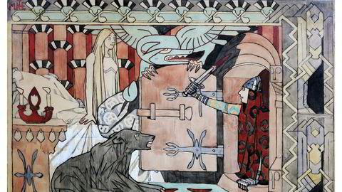 Dragekamp. Munthe stiliserte og abstraherte. For ti års tid siden dukket akvarellen «Den bergtagne» fra 1907 opp i et dødsbo som var kjøpt opp av en brukthandler på Flisa. «Han forsto at bildet var spesielt», skrev Østlendingen den gangen.