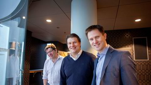 Pexip-grunnleggerne tjener stort på børsnoteringen av videokonferanseselskapet. Her er fra venstre medgründer og teknologidirektør Giles Chamberlin, medgründer og styreleder Michel Sagen og daglig leder Odd Sverre Østlie.