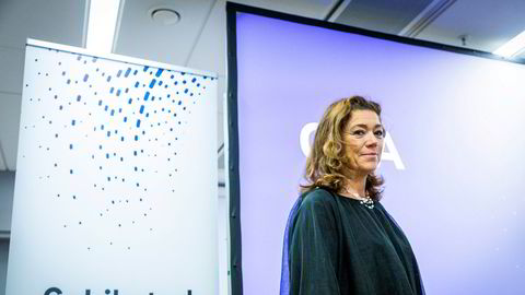 Konsernsjef Kristin Skogen Lund presenterer kvartalsresultatet for Schibsted.