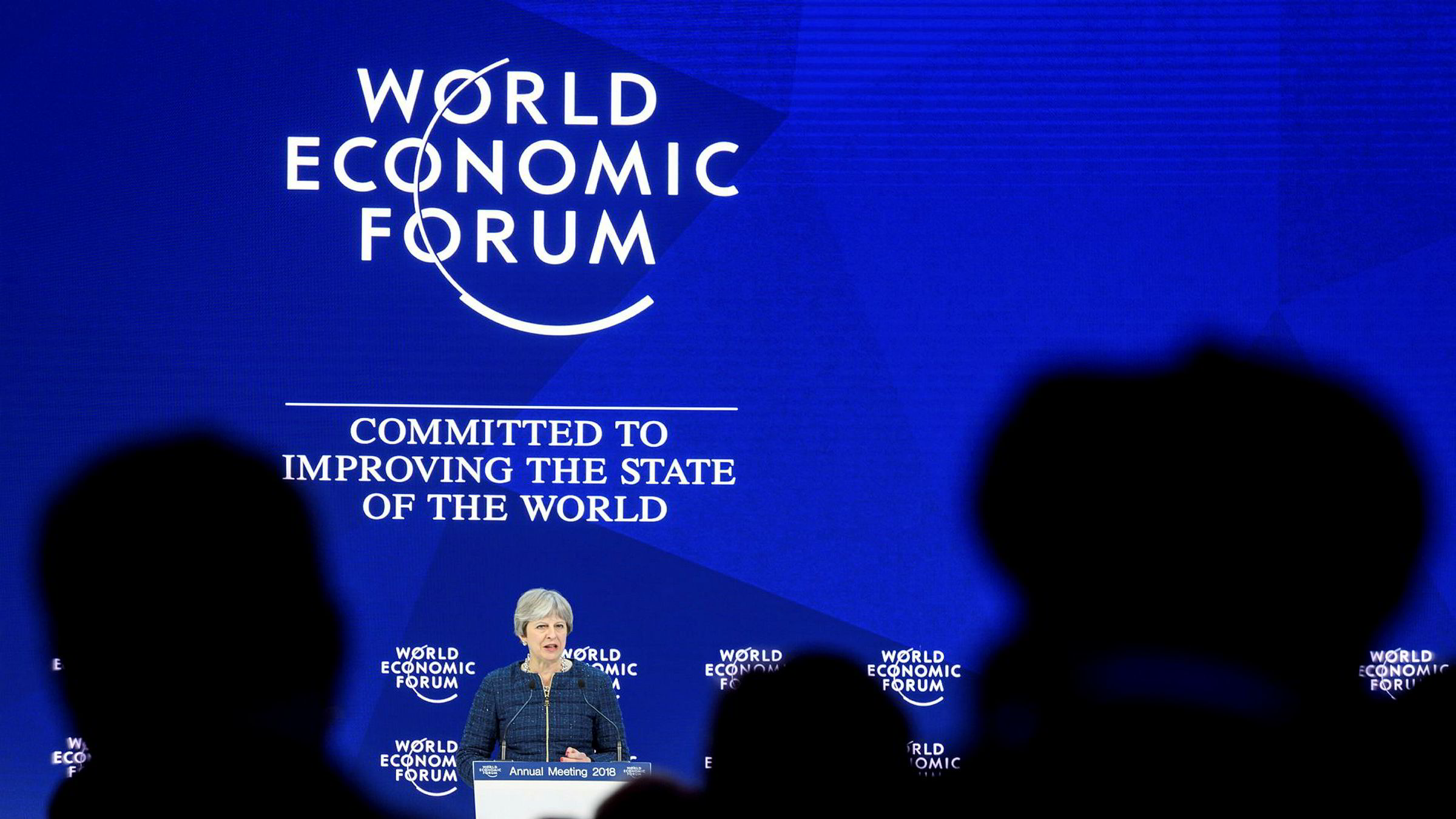 Storbritannias statsminister Theresa May fotografert i Davos torsdag.