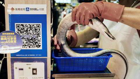 Ant Financials betalingssystem Alipay gjør det mulig å betale med smarttelefon ved flere millioner utsalgssteder i Kina. Her fra et marked i Hong Kong.