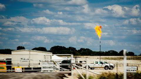 Produsenter av skiferolje i USA lider økonomisk når oljeprisen er under 30 dollar fatet. Her fra et oljefelt i Eagle Ford i Texas.