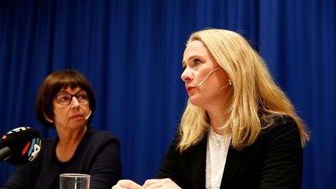 Arbeids og sosialminister Anniken Hauglie og Nav-direktør Sigrun Vågeng informerer om omfattende feilbehandling i Nav.
