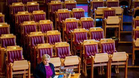 Statsminister Erna Solberg i muntlig spørretime.