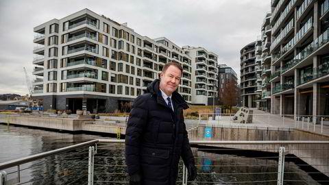 Trond Mellingsæter i Danske Bank ytterst på Tjuvholmen i Oslo.