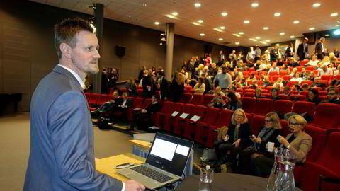 Aleksander Holand Nordahl, daglig leder Virke Inkasso, fra dagens fagmøte i Oslo.