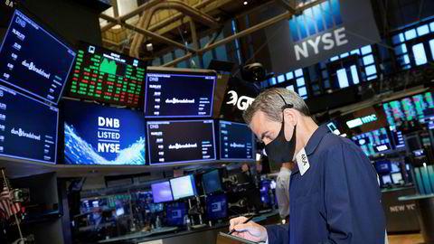 Trader Gregory Rowe på gulvet inne på New York-børsen.