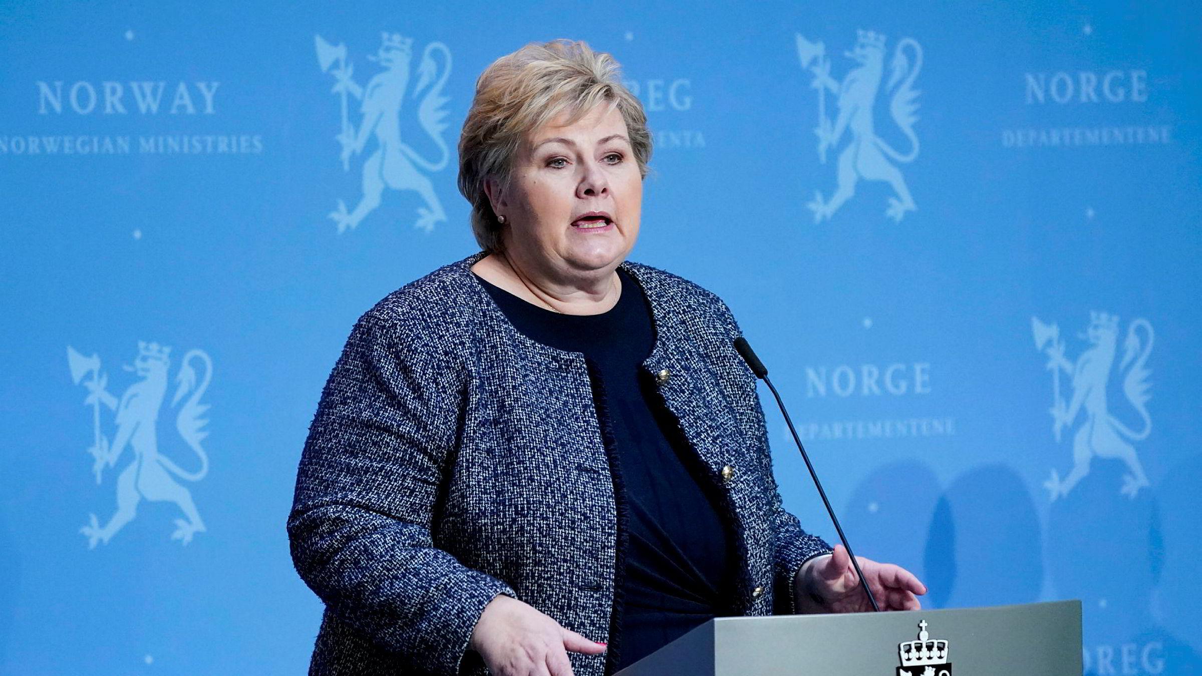 Statsminister Erna Solberg på regjeringens faste pressekonferanse om koronasituasjonen, der tema blant annet er ferie og fritidsreiser.