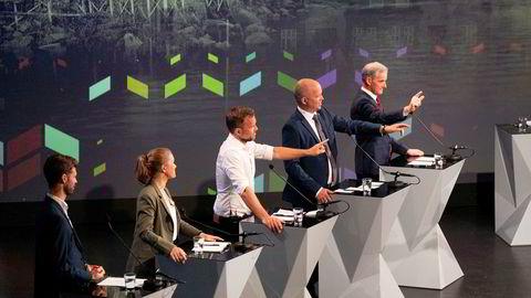 Taletrengte opposisjonsledere under NRKs partilederdebatt i Arendal torsdag.