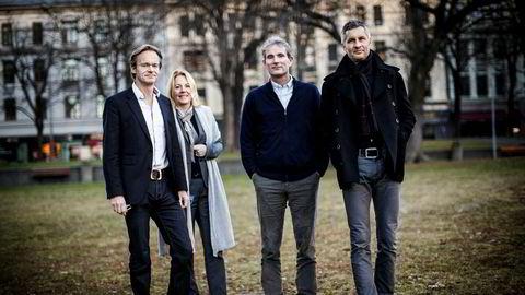 De fire norske Northzone-partnerne har skapt en pengemaskin ved å finne unge vekstselskaper innen teknologi i Norden. Her er de samlet i 2013 utenfor kontoret ved Solli Plass i Oslo. Fra Venstre: Bjørn Stray, Stine Foss, Tellef Thorleifsson og Torleif Ahlsand. Siden bildet ble tatt har Thorleifsson og Ahlsand forlatt den daglige forvaltningen av selskapet, men ikke eierskapet i fondene.