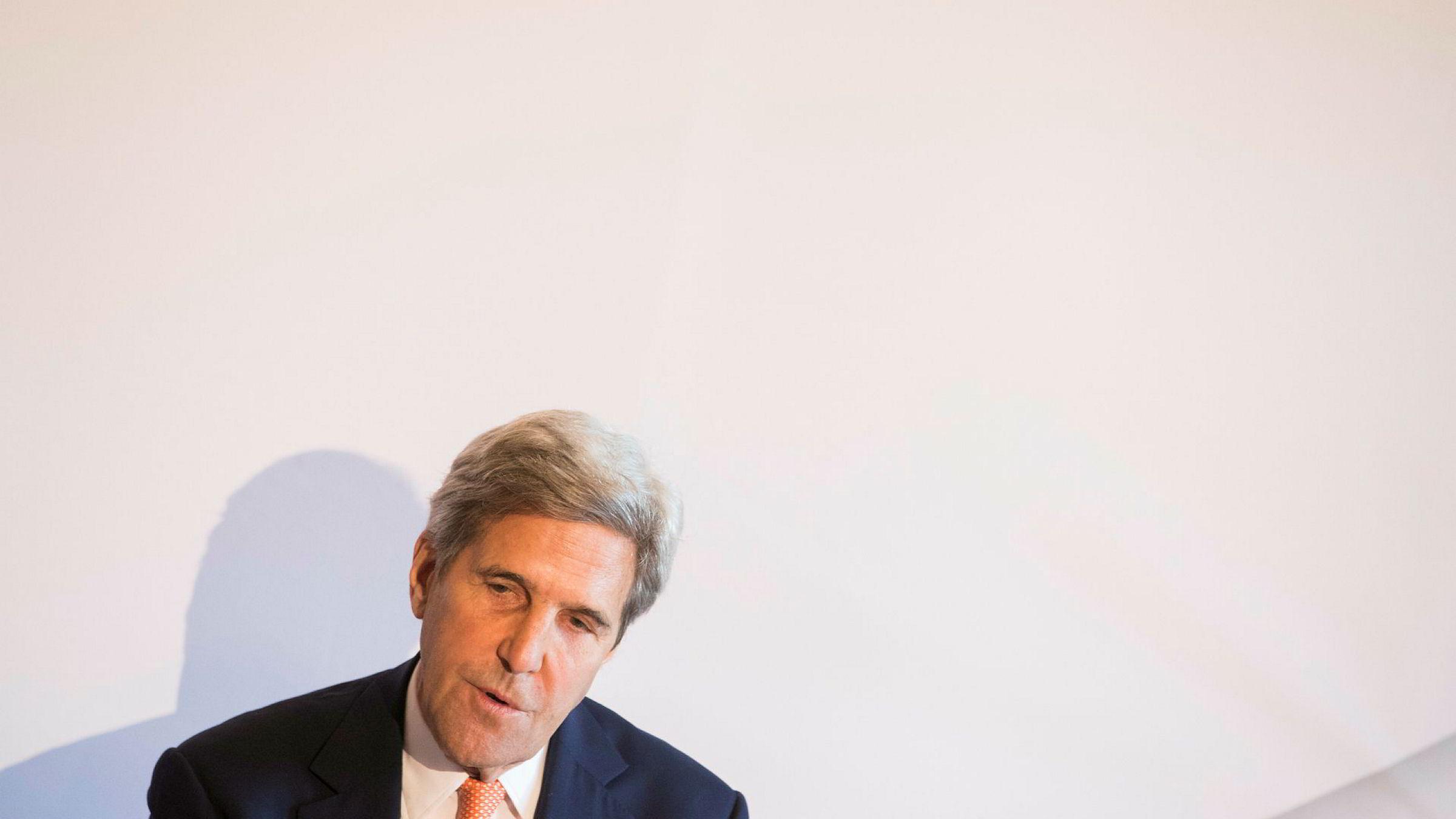 USAs tidligere utenriksminister John Kerry, her fotografert i forbindelse med et besøk i Oslo.