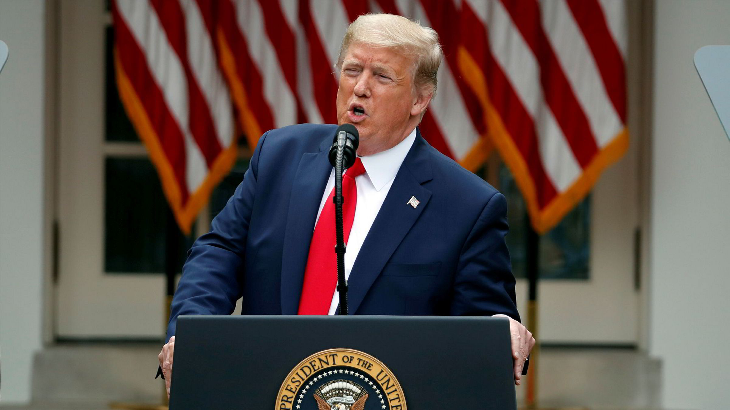 USAs president Donald Trump rettet knallhard kritikk mot WHO på pressekonferansen.