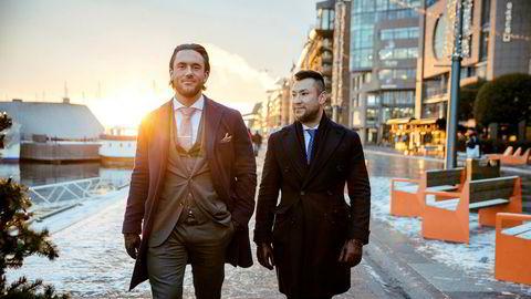Didrik Rommen Olsen (til venstre) og Erik Eriksen, tidligere superselgere i skandaleselskapene Indigo og Omicron. Nå har Olsen fått tilbud om å bli megler i Norse Securities.