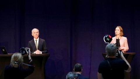 Finansminister Jan Tore Sanner (H) og næringsminister Iselin Nybø (V) legger frem regjeringens kontantstøtte til bedrifter i Finansdepartementet 2. april.
