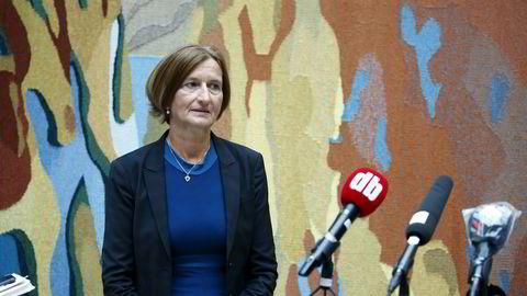 Stortingets direktør, Marianne Andreassen, orienterer om IT-angrep mot Stortinget.