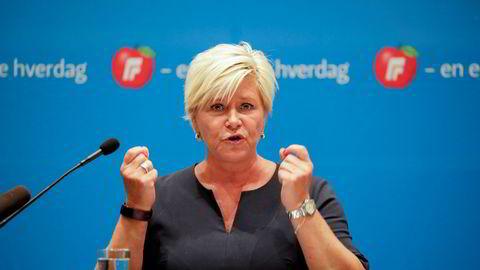 Frp-leder Siv Jensen fra landsstyremøtet i år.