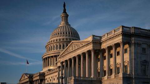 Kongressbygningen i hovedstaden Washington D.C. der riksrettsprosessen vil gå sin gang.