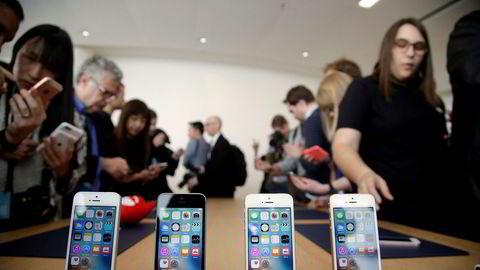 Interessen var stor under lanseringen av Apples Iphone SE i hovedkvarteret i Cupertino i California i 2016.