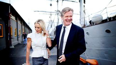 Celina Midelfart og Tor Olav Trøim under TradeWinds' fest på «Christian Radich» i 2013.