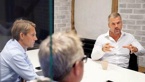 Styreleder Kjell-Erik Østdahl er superoptimist på vegne av selskapet Earth Science Analytics. Her sammen med administrerende direktør Eirik Larsen (i midten) og finansdirektør Jarle Kvamme (til venstre)